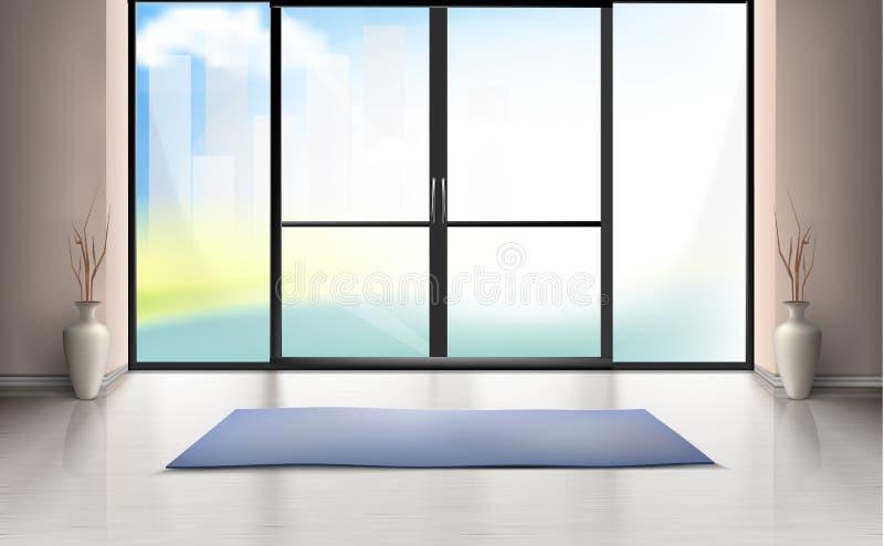 Vector o modelo da sala da entrada com porta de vidro ilustração stock