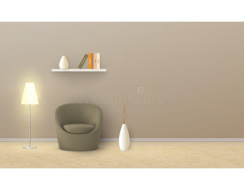 Vector o modelo da sala vazia, interior minimalista ilustração royalty free