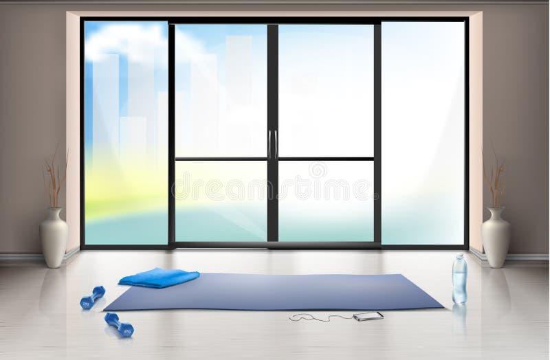 Vector o modelo do salão vazio do gym com porta de vidro ilustração royalty free