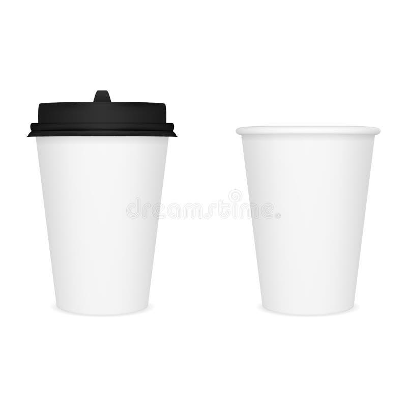 Vector o modelo realístico da imagem, disposição de um copo de papel fechado branco para o café com uma tampa preta ilustração royalty free