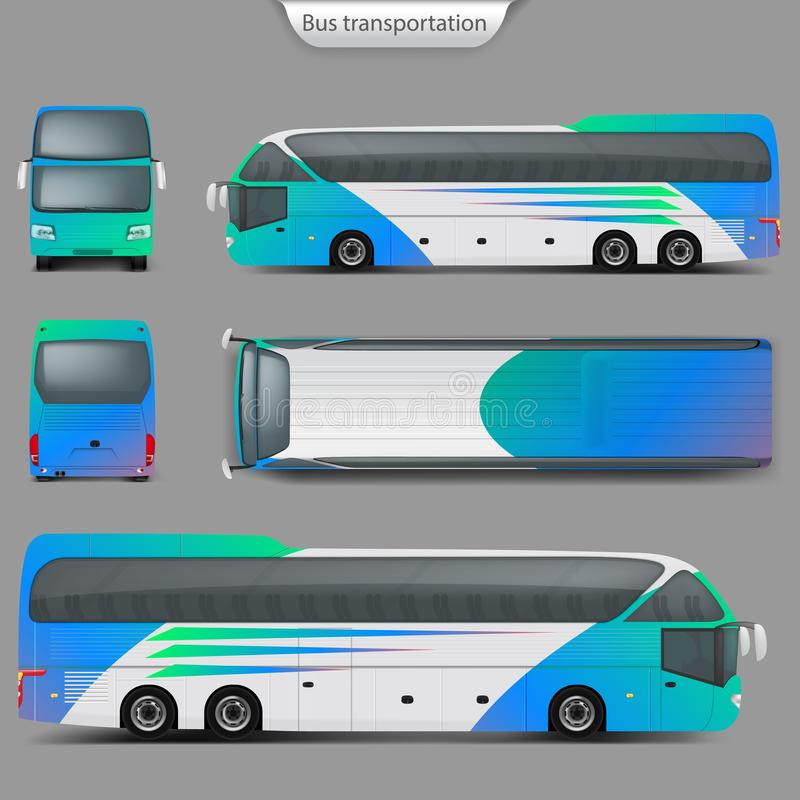 Vector o modelo realístico traseiro, vista superior do ônibus do treinador ilustração royalty free