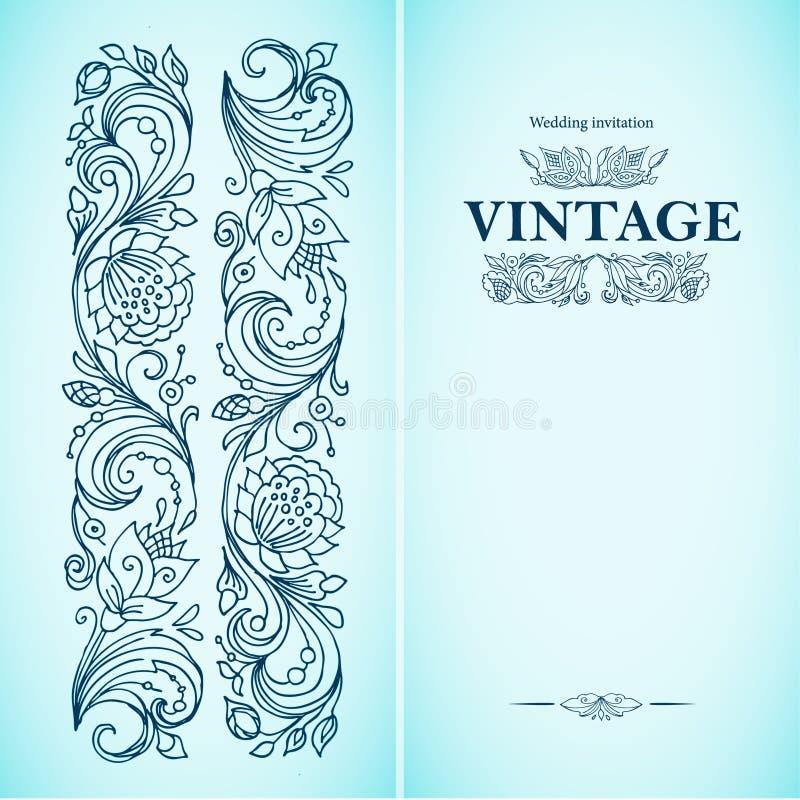 Vector o molde decorativo do vintage com teste padrão e quadro decorativo As flores, galhos brotam e saem no estilo retro Tinta e ilustração stock