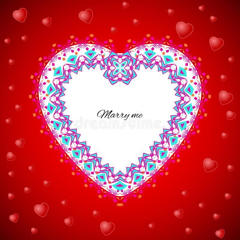 Vector o molde do cartão ao dia do ` s do Valentim Fundos do ` s das felicitações com teste padrão romântico, coração, texto e a  ilustração stock