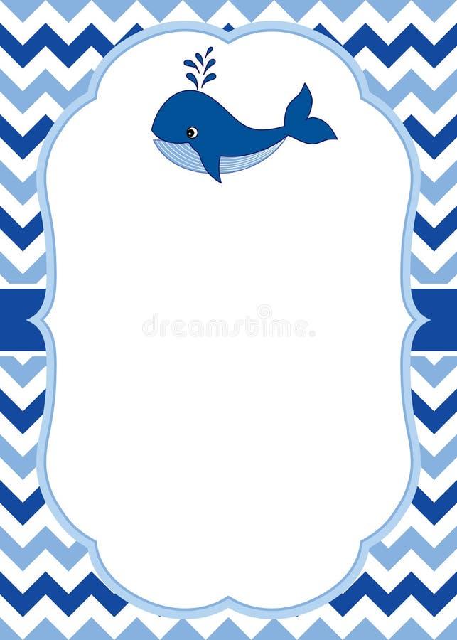 Vector o molde do cartão com uma baleia bonito no fundo de Chevron Vetor náutico ilustração do vetor