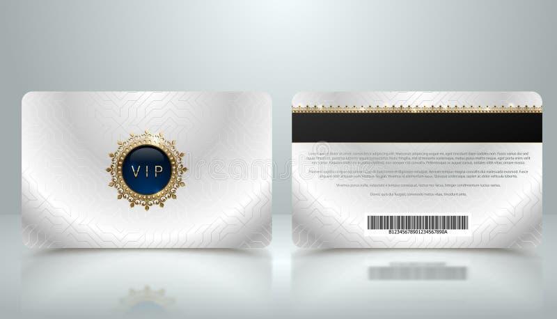 Vector o molde do cartão metálico de prata do VIP da sociedade ou da lealdade com teste padrão geométrico luxuoso Projeto da part ilustração stock