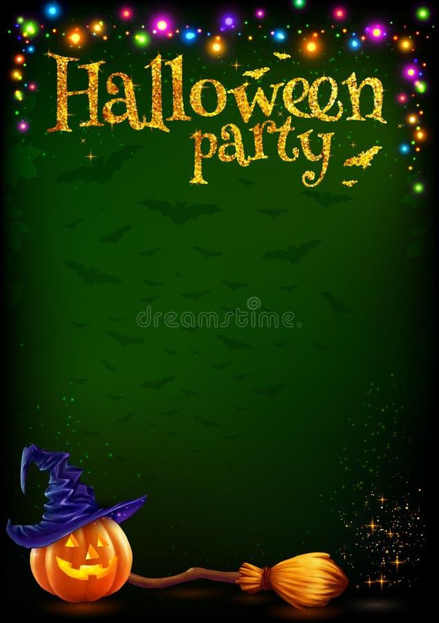 Vector o molde do cartaz do partido de Dia das Bruxas com a abóbora do estilo dos desenhos animados e a vassoura de bruxa, festão ilustração stock