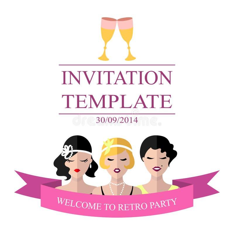 Vector o molde do convite ao partido retro com as meninas do flapper no estilo liso ilustração royalty free