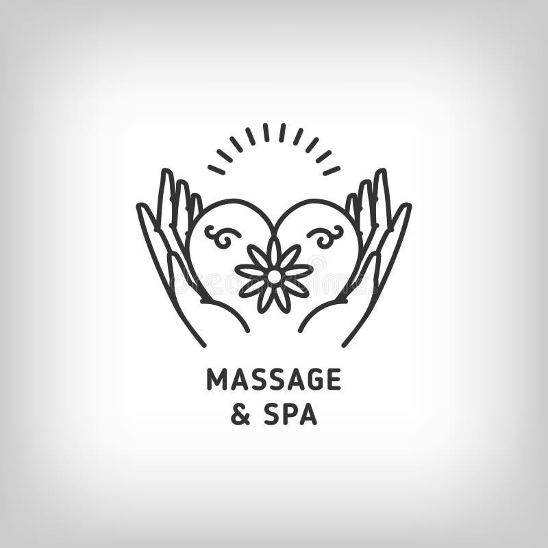 Vector o molde do logotipo da massagem e da terapia dos termas, linha fina símbolos ilustração stock
