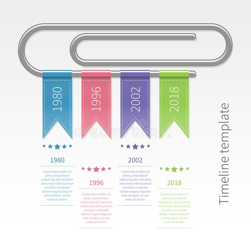 Vector o molde infographic colorido do espaço temporal com clipe e fitas ilustração royalty free