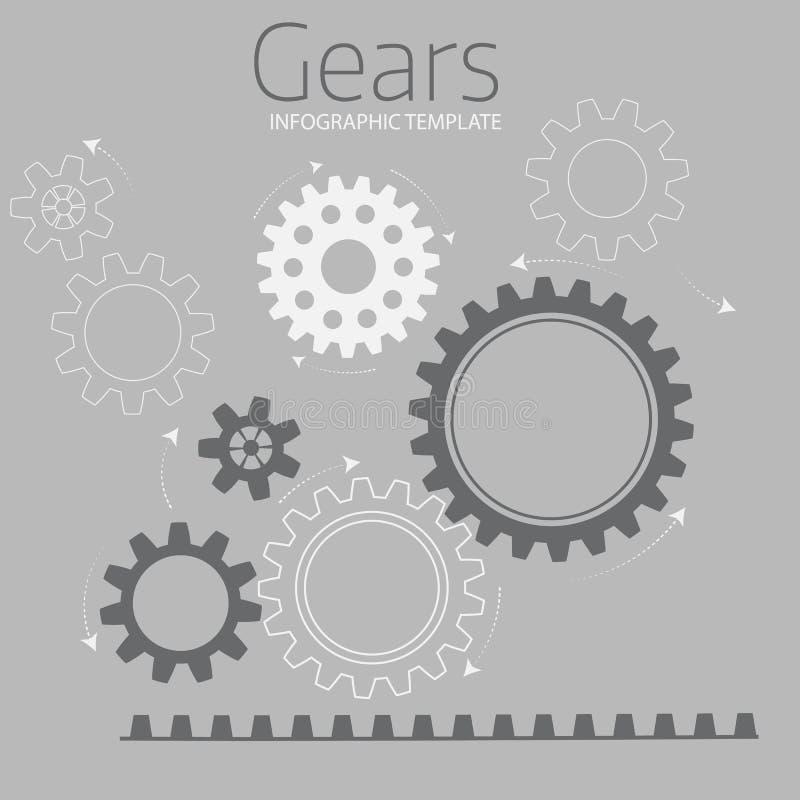 Vector o molde infographic com as engrenagens no fundo cinzento ilustração royalty free