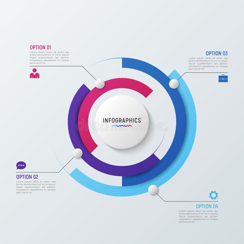 Vector o molde infographic da carta do círculo para o visualização dos dados ilustração stock
