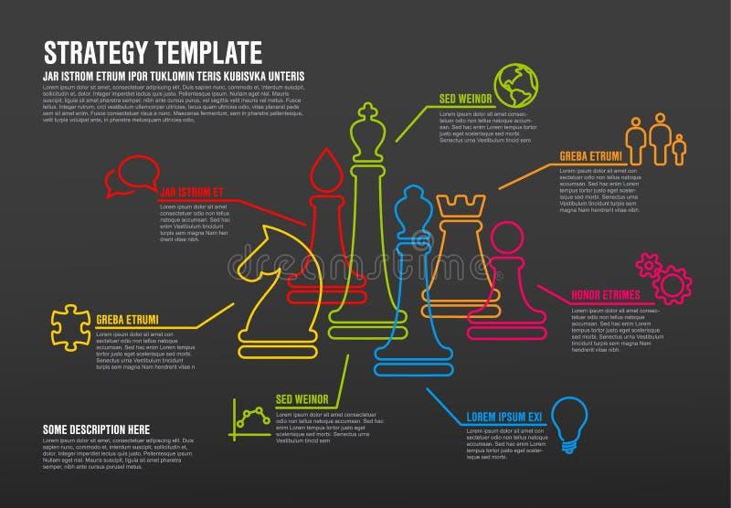 Vector o molde infographic da estratégia empresarial com linha fina figuras da xadrez ilustração stock