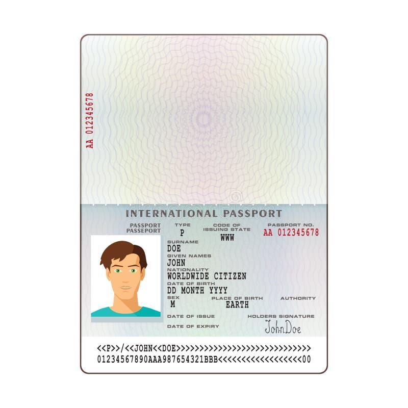 Vector o molde internacional do passaporte com a página pessoal dos dados da amostra ilustração royalty free