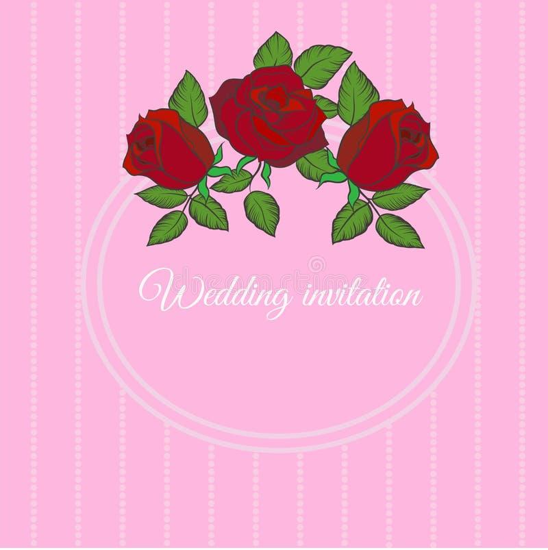 Vector o molde para o cartão, o convite do casamento com quadro redondo e as rosas ilustração stock
