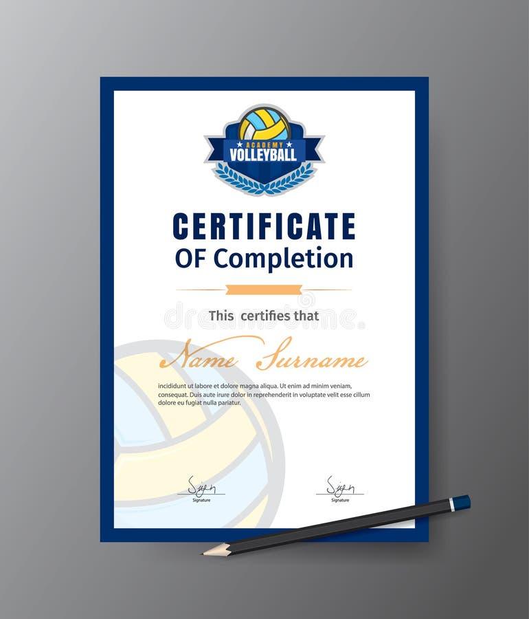 Vector o molde para o certificado da academia do treinamento do voleibol ilustração royalty free
