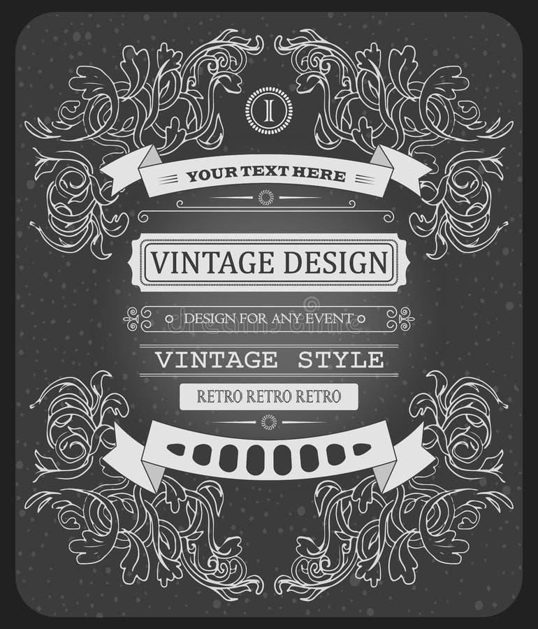 Vector o molde tipográfico do vintage bonito fresco do convite do moderno ilustração do vetor