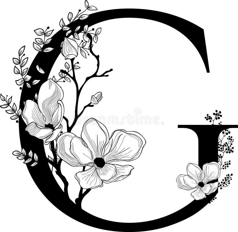 Vector o monograma floral tirado mão e o logotipo de G ilustração stock