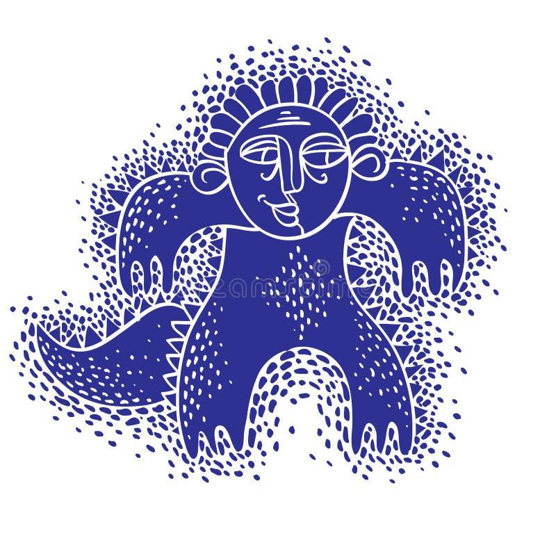 Vector o monstro irritado dos desenhos animados frescos, criatura estranha simples Clipar ilustração stock