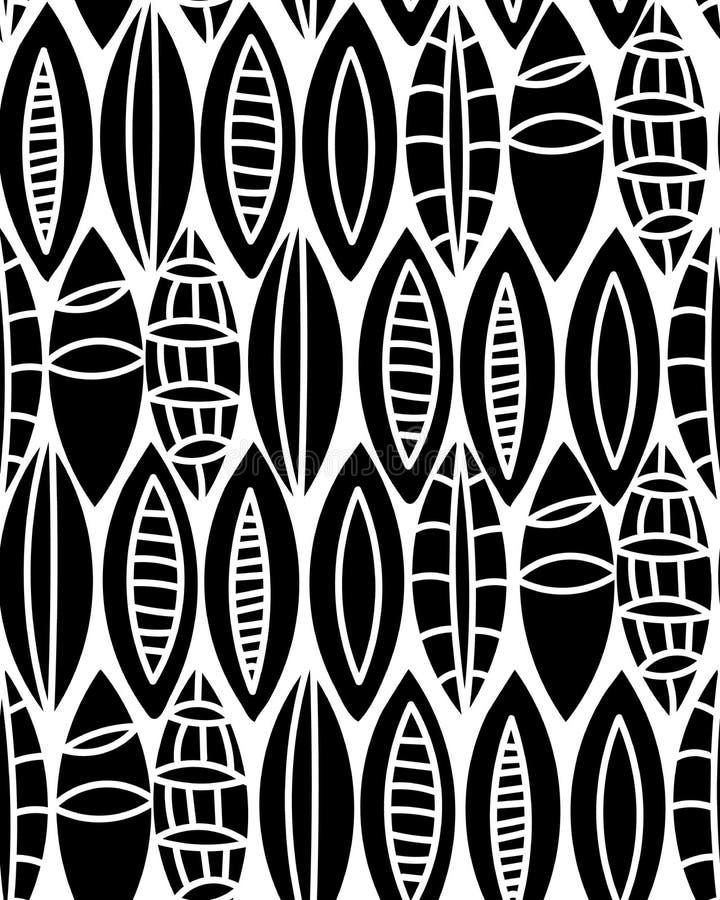 Vector o motivo floral preto e branco sem emenda com folhas, teste padrão do fundo ilustração do vetor