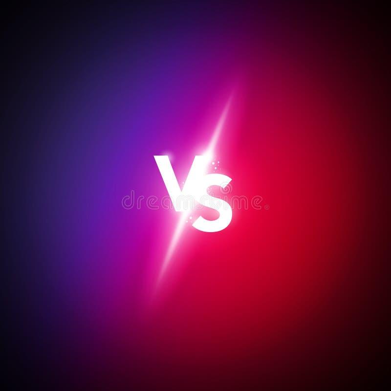 Vector o néon da ilustração contra o logotipo contra letras para esportes e lute a competição Fósforo da batalha, conceito do jog ilustração stock