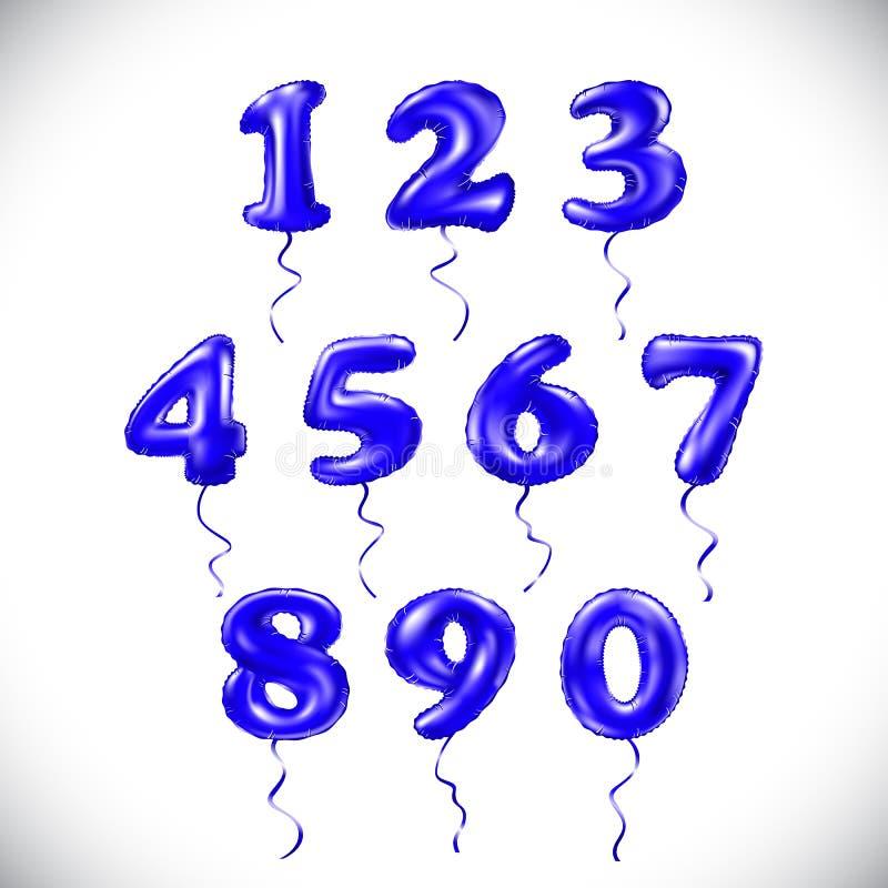 Vector o número azul 1 do sapphirine, 2, 3, 4, 5, 6, 7, 8, 9, 0 balões metálicos Balões dourados da decoração do partido Sinal FO ilustração stock