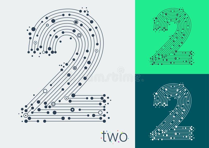Vector o número dois em um fundo brilhante e colorido A imagem ao estilo do techno, criado entrelaçando-se linhas e pontos ilustração royalty free