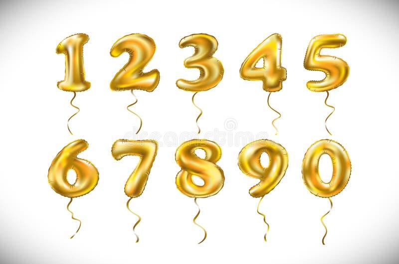Vector o número dourado 1, 2, 3, 4, 5, 6, 7, 8, 9, 0 balões metálicos Balões dourados da decoração do partido Sinal do aniversári ilustração royalty free