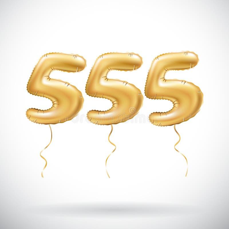 Vector o número dourado 555 cinco cem meio a meio balões metálicos Balões dourados da decoração do partido Sinal do aniversário p ilustração stock