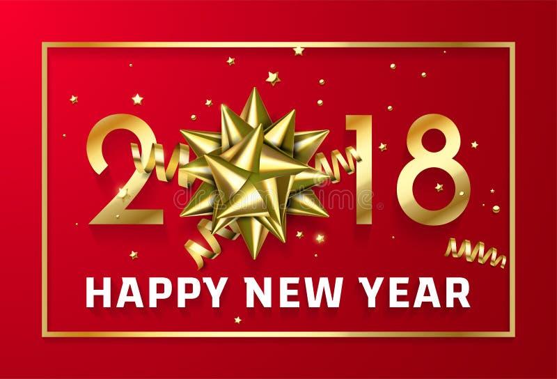 Vector o Natal 2018 do ouro ou o fundo preto superior chinês da celebração vermelha do ano novo com curva dourada da fita do quad ilustração stock