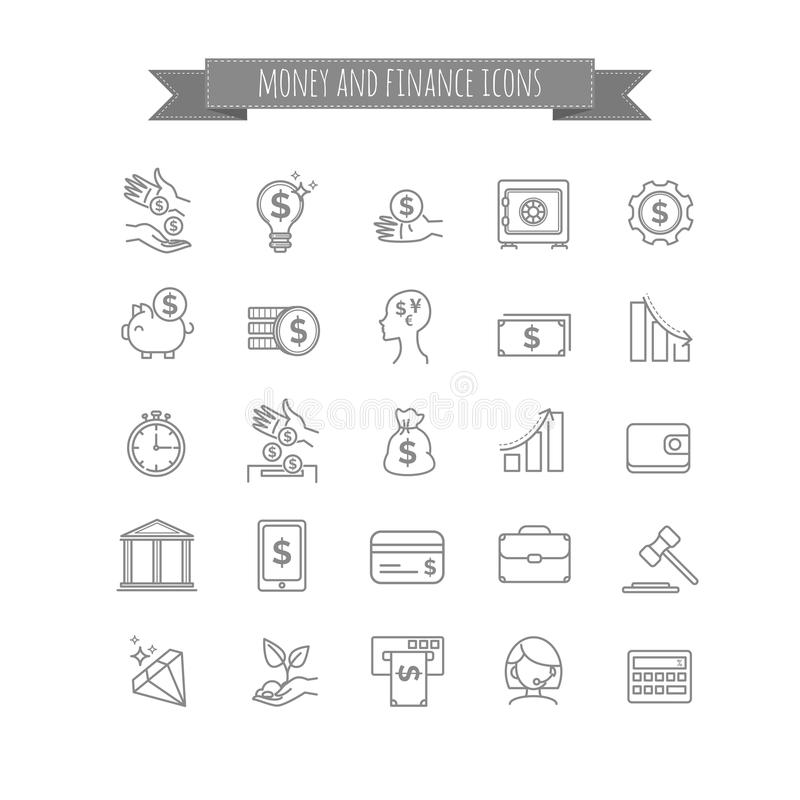 Vector o negócio, dinheiro e financie a linha fina grupo do ícone ilustração do vetor