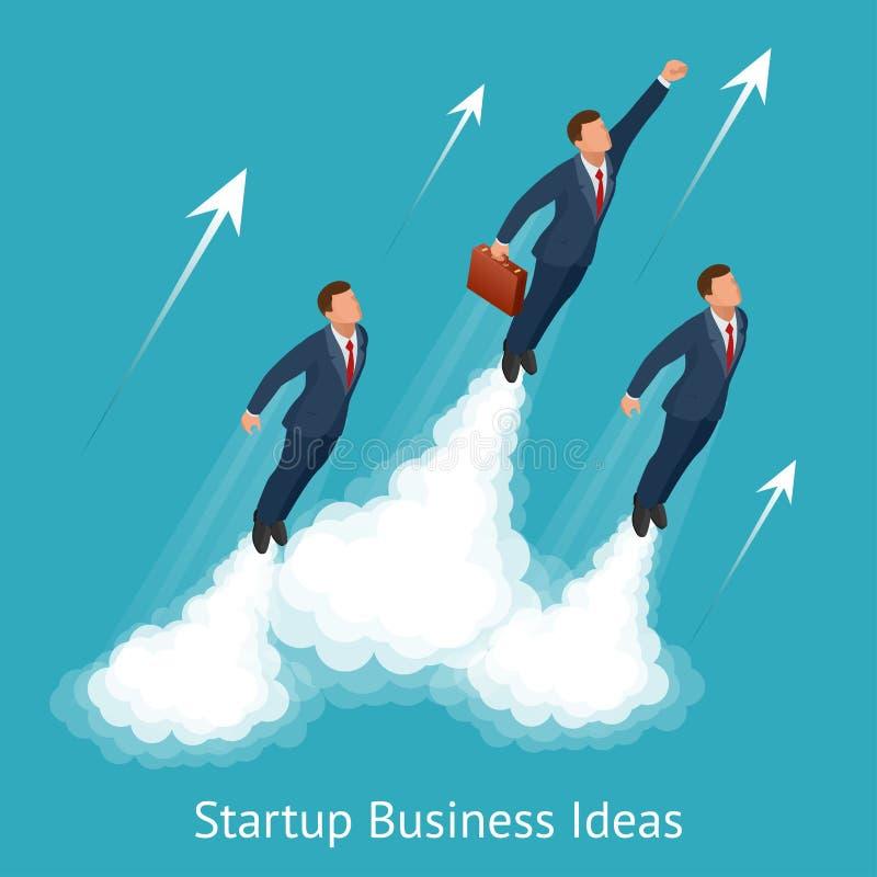 Vector o negócio startup isométrico, inovação, tecnologia, tecla 'Iniciar Cópias', decole homens de negócios novos, desenvolvimen ilustração royalty free