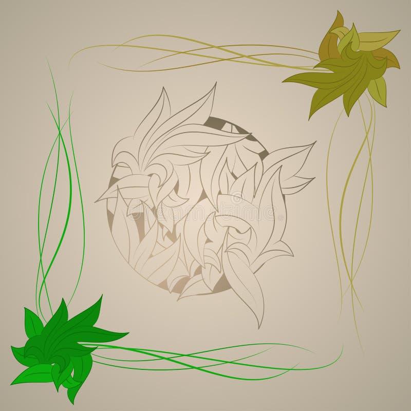 Vector o ornamento estilizado na forma das folhas, ilustração stock
