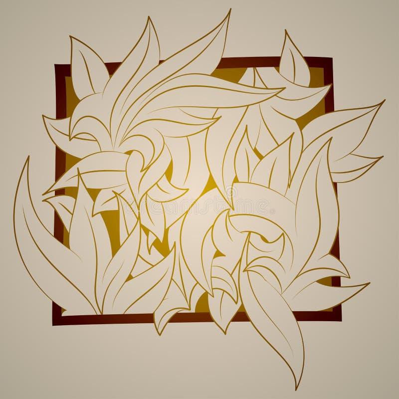 Vector o ornamento estilizado na forma das folhas, ilustração do vetor