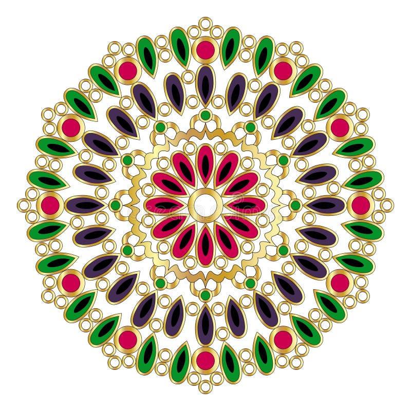 Vector o ouro colorido em volta da mandala com gotas e anéis - página adulta do livro para colorir ilustração stock