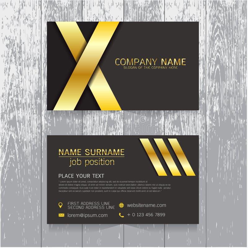 Vector o ouro criativo do cartão da folha e o projeto preto do texto ilustração royalty free