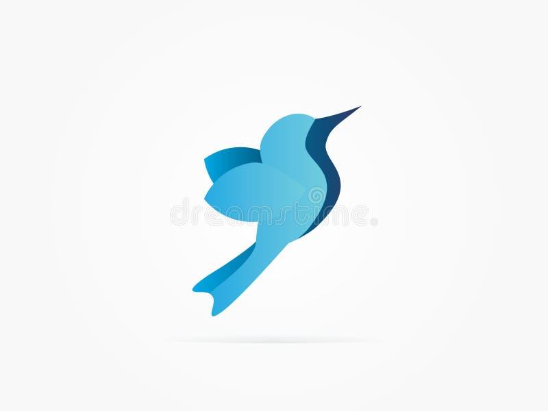 Vector o pássaro azul da ilustração com logotipo azul da sombra imagem de stock royalty free