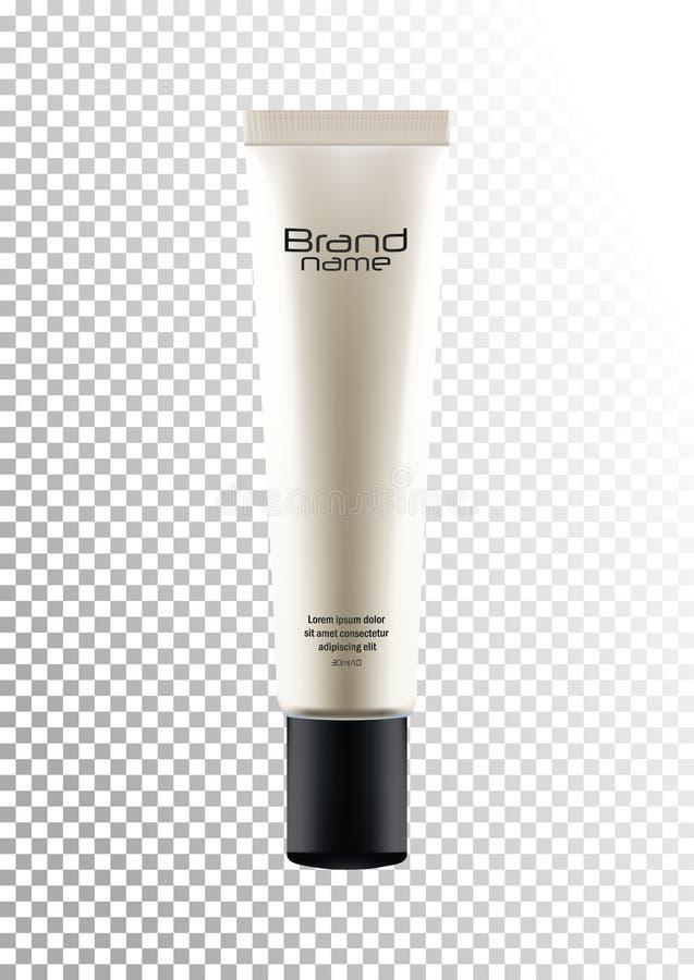 Vector o pacote branco vazio com a tampa preta para o tubo cosmético dos produtos para o ocultador, creme, fundação Modelo realís ilustração stock