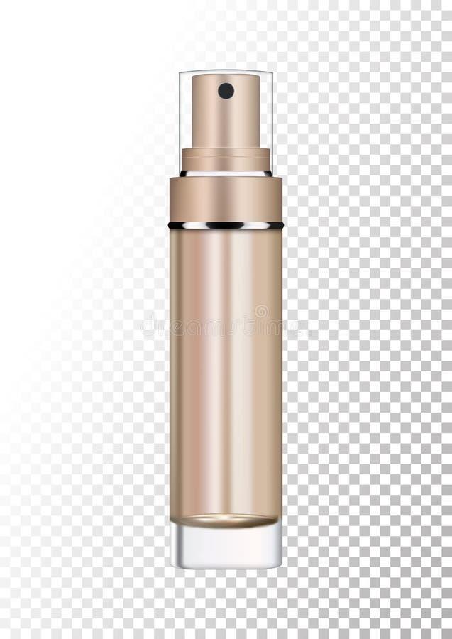 Vector o pacote de bronze vazio do ouro para produtos cosméticos com bomba, tubo para a loção, tônico, creme Modelo realístico de ilustração stock