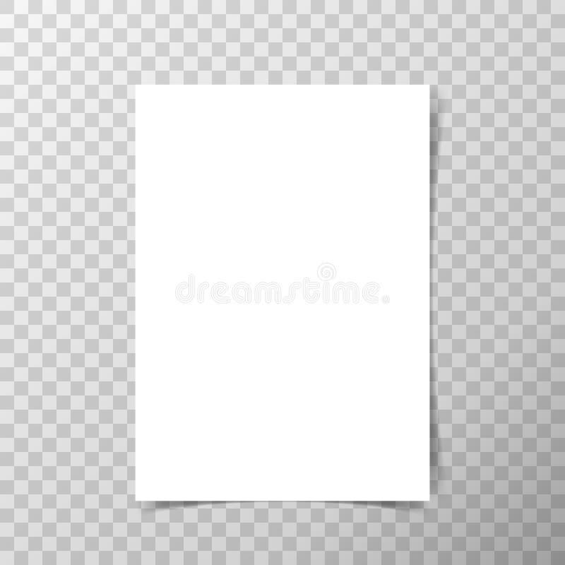 Vector o papel do formato A4 com sombras no fundo transparente ilustração royalty free