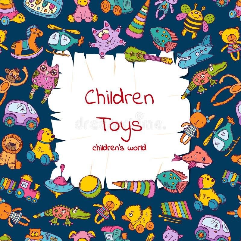 Vector o papel rasgado com lugar para o texto cercado pela ilustração colorida esboçada dos brinquedos das crianças ilustração stock