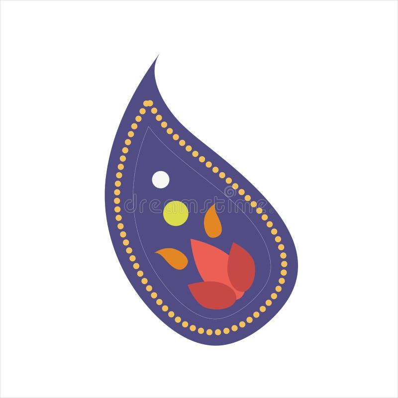 Vector o pepino turco étnico do vintage do ornamento de paisley do indiano ilustração stock