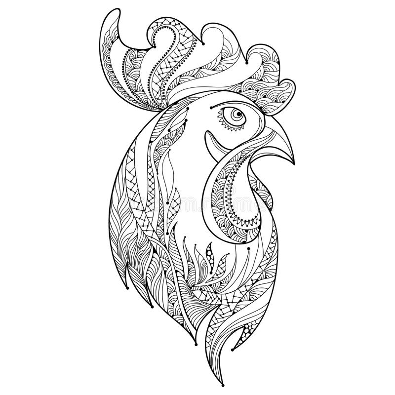 Vector o perfil principal do galo ou do galo do esboço no preto no fundo branco Símbolo do ano novo 2017 no calendário chinês ilustração do vetor