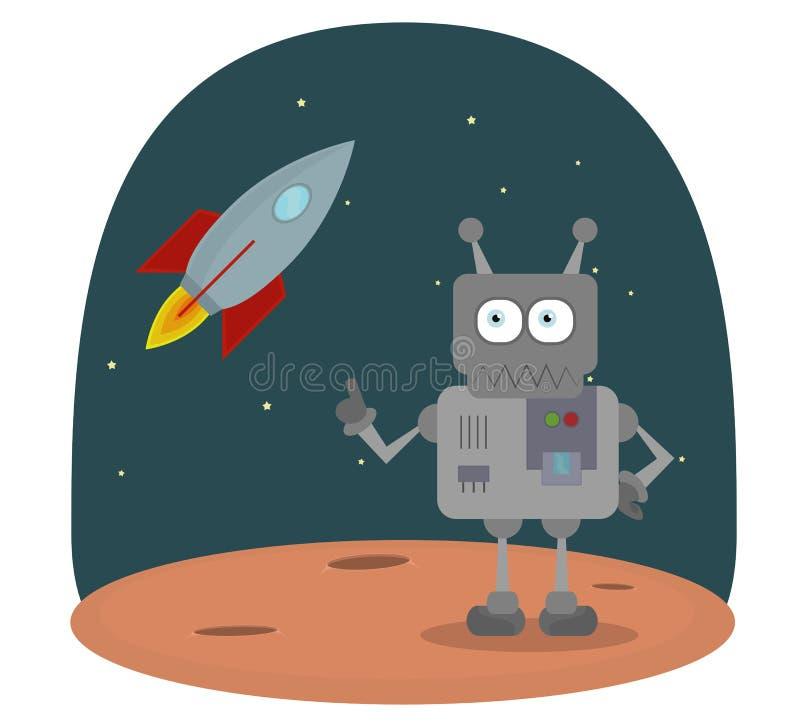 Vector o personagem de banda desenhada do robô no planeta no espaço com nave espacial ilustração do vetor