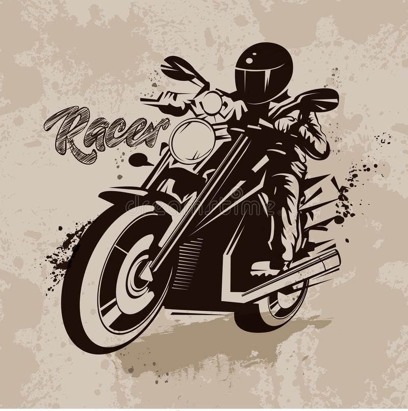 Vector o piloto da ilustração na motocicleta no estilo do grunge ilustração stock