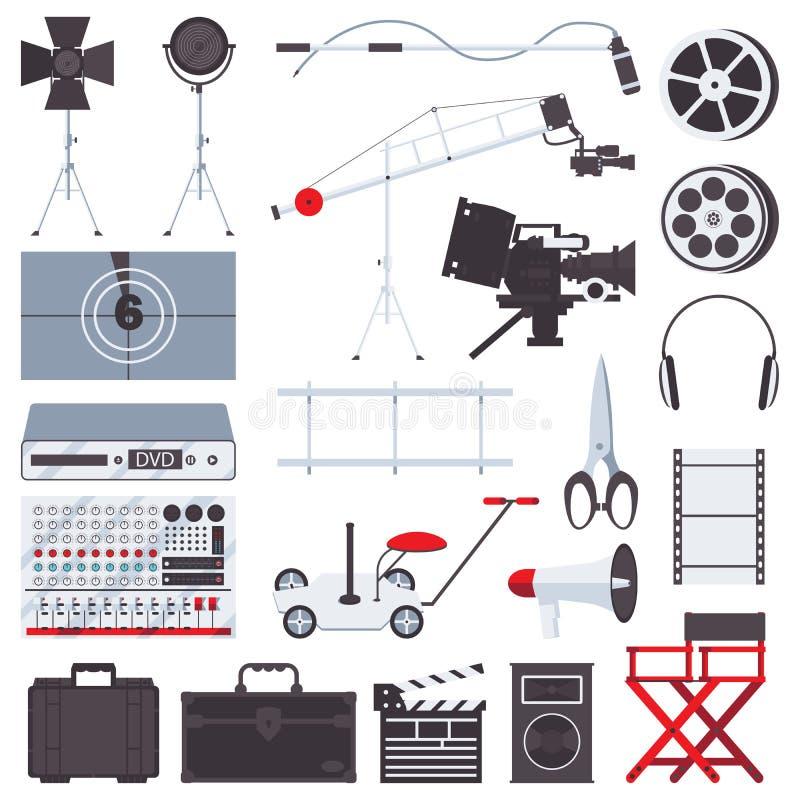 Vector o plano ajustado com cadeira, megafone, trilhos, câmera, ripa, acessórios e luz dos realizadores de cinema Isolado no bran ilustração stock