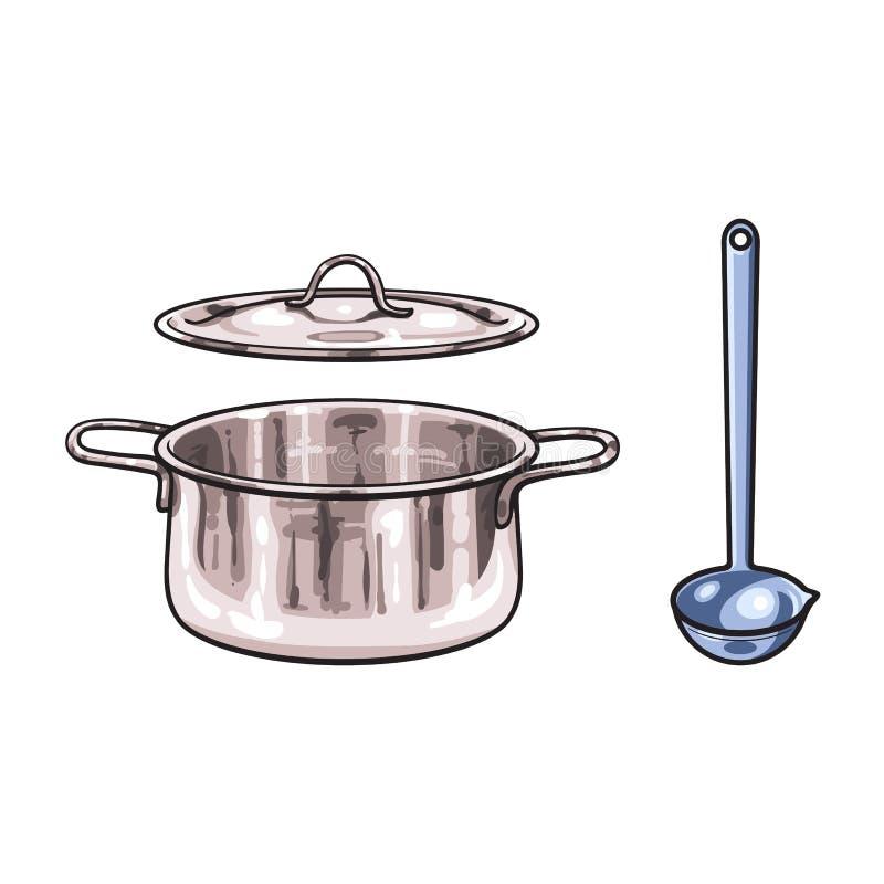 Vector o potenciômetro do metal, desenhos animados do esboço da concha isolados ilustração stock