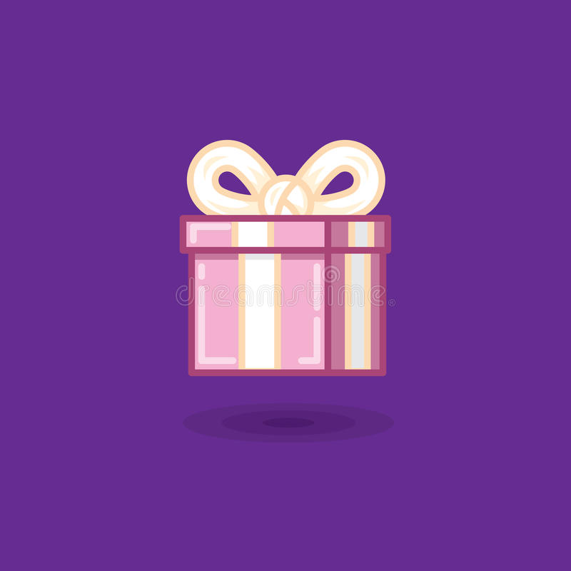 Vector o presente da ilustração na caixa com curva no fundo escuro ilustração royalty free