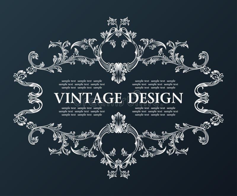 Vector o preto velho real da decoração do ornamento do quadro do vintage ilustração stock