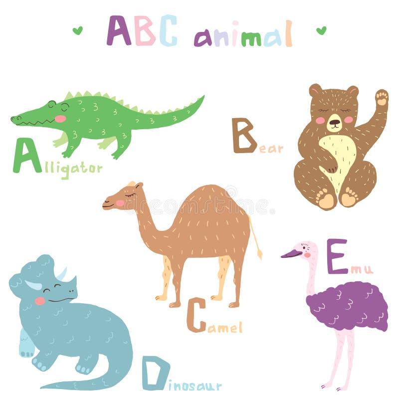 Vector o projeto colorido escandinavo animal tirado mão do alfabeto bonito do ABC, flamingo, girafa, hippopotamusl, íbis, jaguar ilustração do vetor