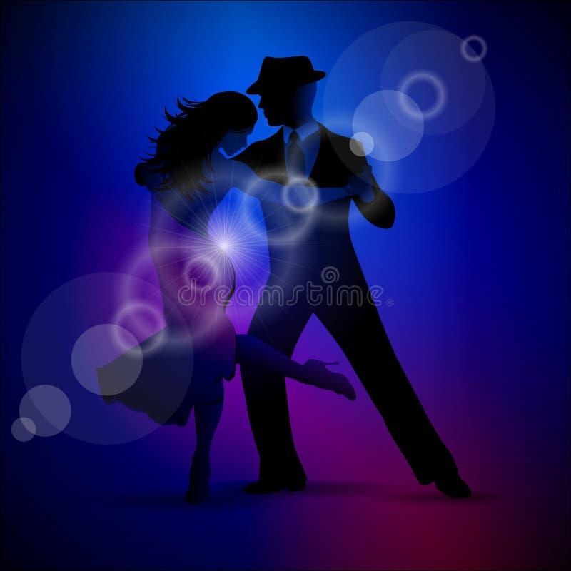 Vector o projeto com tango da dança dos pares no fundo escuro. ilustração do vetor